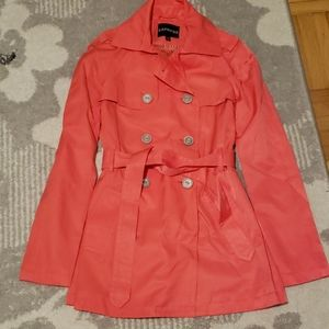 Express Coral belted Trench Coat Jacket XS NWOT